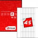 Этикетки на листах А4, Зеленый, (15 х 59.4 мм.), 50 листов