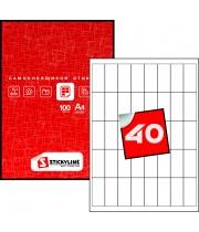 Этикетки на листах А4, белый, (25 х 55 мм.), 100 листов