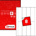 Этикетки на листах А4, Красный, (43 х 148.5 мм.), 50 листов