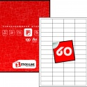 Этикетки на листах А4, Красный, (48.5 х 19 мм.), 100 листов