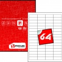 Этикетки на листах А4, Красный, (48.5 х 16.9 мм.), 500 листов