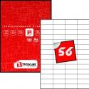 Этикетки на листах А4, Красный, (52.5 х 21.2 мм.), 100 листов