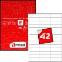 Этикетки на листах А4, Красный, (67 х 20.5 мм.), 500 листов