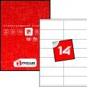 Этикетки на листах А4, Красный, (104 х 40.5 мм.), 100 листов