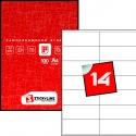 Этикетки на листах А4, Красный, (104 х 41 мм.), 500 листов