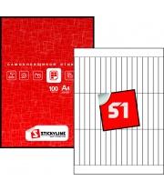 Этикетки на листах А4, белый, (12 х 85 мм.), 100 листов